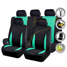 Black Green Universal Car Seat Cover Set 11 PC Auto Seat Cover Auto Seat Protect