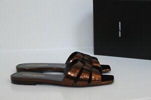 sz 6.5 / 37 Saint Laurent Tribute Kanyon Bronze Leather Slide Sandal Flat Shoes