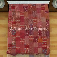 Indian Kantha Quilt Reversible Bedding Throw Ethnic Queen Patchwork Bedspread