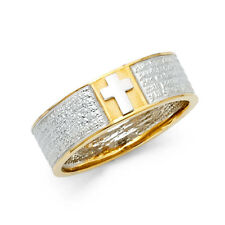 Cross Jesus Vintage Fashion Ring Band Men 14k Yellow White Gold Cz Religious