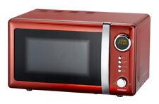 Retro-Mikrowelle+Uhr Nostalgie-Design Mikrowellengerät Mikrowellenherd chili-rot
