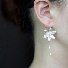 Women's 925 silver plated chic flower threader Drop long Hook Dangle Earrings