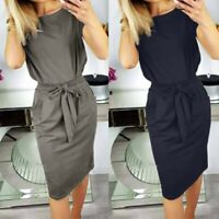 UK Womens Casual Pocket Summer Ladies Short Sleeve Evening Party Midi Dress