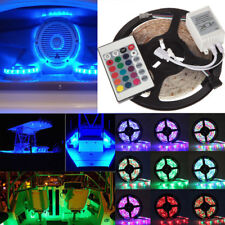 5M 3528 Waterproof RGB LED Strip Light With Remote 12V For Boat Truck Car SUV RV