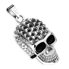 """Pyramid Spikes Skull w Sunglasses Stainless Steel Pendant 2 """" inches long 56mm"""
