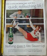1959 7UP PRINT AD WITH ICE SKATING SODA POP MAGAZINE ADVERTISING VINTAGE