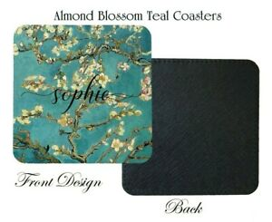 Van Gogh Almond Blossom Teal Coaster,Birthday,Home decor, Personalised with Name
