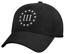 Black Three Percenter Cap 3% III Percent Embroidered Military Baseball Hat 8997