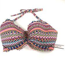 NEW Victorias Secret Bikini Top 36DD Getaway Halter Aztec Tribal Pink Black Blue