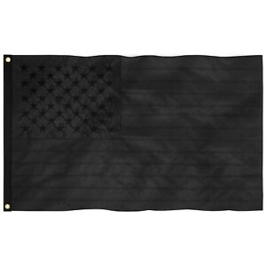All Black American Flag 3x5 ft 210D Embroidered Blackout Tactical US Black Flag