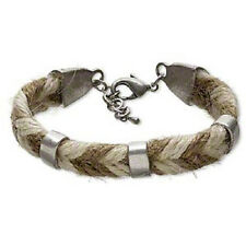 3555JD Bracelet Hemp Brown White Pewter Silver Fashion Jewelry Vintage Style