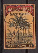 Ancienne   étiquette  allumettes  Suède   AZ106 Arbre  Manille