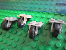 Lego 4 sets de ruedas Technic avión tren de aterrizaje solo Gris 2x2 unidades de placa