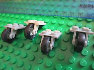 LEGO 4 Sets of Technic Aircraft Undercarriage Wheels Single Grey 2x2 Plate Units