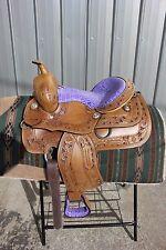 "31-14  New 13""  Frontier PURPLE  cutout filigree saddle gator pattern NICE"