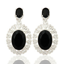 Oval Cut Black Onyx Gemstone 925 Silver Dangle Earrings Designer Jewelry