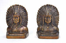 Antique Set Bronze Bookends American Indian Native American Chief