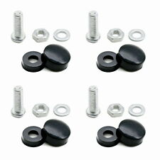 New 4 x Black License Plate Frame Security Screw Caps Bolt Covers For Car Truck