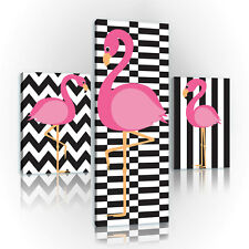 SET(3 teilig) CANVAS Leinwand Wandbild Design Mozaik Flamingo Vogel 3FX11122S16