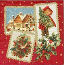 2 Serviettes en papier Images de Noël rétro Decoupage Paper Napkins Christmas