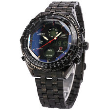 Shark Mens Digital Quartz Wrist Watch Sport Black Stainless Steel Date Day+Box