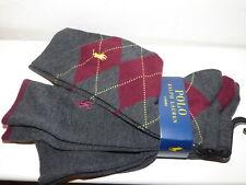 Ralph Lauren Rojo Gris X3 Para Hombre Calcetines Una Talla Nuevo con etiquetas