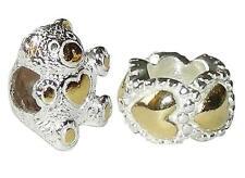 2 Rhona Sutton 2 tono argento Sterling Charm Perline-Love Bear, Cuore Anello Distanziatore