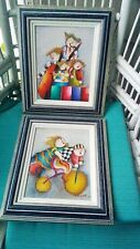 """Pair of""""Joyce Roybal"""" Signed Original Oil Paintings """"Musicians&Children Cycling"""""""