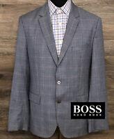 BOSS Hugo Boss Men's Wool Blue Plaid Two-Button Blazer Sport Coat Jacket 42R