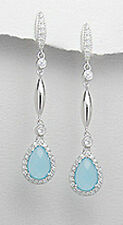 Sterling Silver Blue Calcedony and CZ Teardrop Dangle Pushback Earrings GORGEOUS
