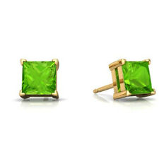 14Kt Yellow Gold Peridot Princess Cut Stud Earrings