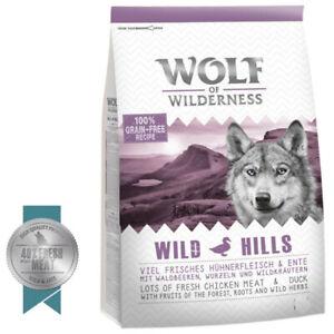 """12KG Wolf of Wilderness Adult """"Wild Hills"""" - Duck 100 % Grain-Free Recipe"""