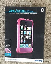 DLO Jam Jacket For iPhone 3G Silicone Skin Case Back Cover Pink Earphone Holder