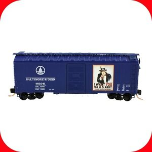 """N Scale B&O - USA WWII UNCLE SAM """"I Want You For US Army"""" - 40' Box Car - DELUXE"""