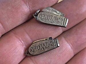 Rare 2 Boer Prisoner of War POW 1903 Signed Handmade Coin Miniature Knives