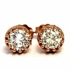 New EGL certified 14k rose gold 1.06ct diamond stud round crown earrings 1.2g