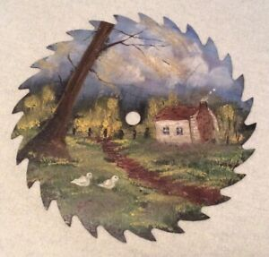 Vintage Sawblade Art! House in the Country! Hand Painted!!