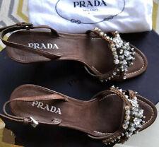 Prada Bronze And Beaded Wedge Shoes Size EU 36 UK 3.5 US 6 £45