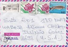 BD800) Ivory Coast 1992 nice registered airmail cover to USA