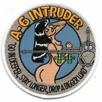 "4"" NAVY A-6 INTRUDER  GO IN DEEPER STAY LONGER  DROP A BIGGER LOAD JACKET PATCH"