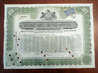 1912 LEHIGH VALLEY TRANSIT CO RAILROAD 100 SH STOCK CERTIFICATE W TRANSFER STAMP