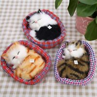 Simulation Stuffed Animal Doll Plush Sleeping Cats Kitten Sound Cushion Kids Toy