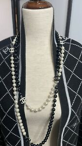 Vintages Chanel pearl necklace black and white. STOLE Sold Separately