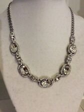 $125 Givenchy Silver Tone Clear Crystal Frontal Necklace GV 11/624
