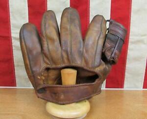 Vintage 1940s Rawlings Leather Baseball Glove Split Finger Mitt John Pesky G490