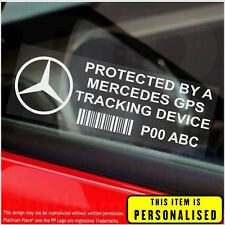 4 x Mercedes PERSONALISED GPS Tracking Device-Security Stickers-Alarm-Tracker