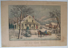 """Currier & Ives """"The Old Farm House"""" Original Hand-Colored Lithograph 1872"""