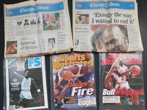 Michael Jordan Retirement Chicago Tribune and Sports Illustrated Magazine Covers