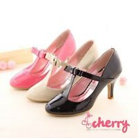 Fashion Womens Lolita T Strap Mary anes Round Toe Pumps Bowknot Shoes Mid Heels