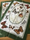 Pair Matching 100% Cotton Teatowels Butterfly Design Made In Britain BNWOT